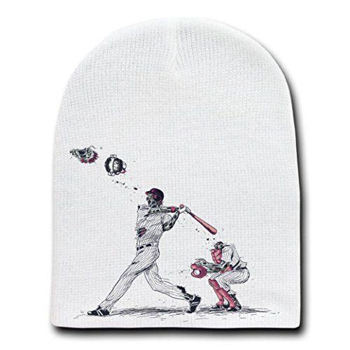 'Home Run' Funny Zombie Baseball Game - White Beanie Skull Cap Hat