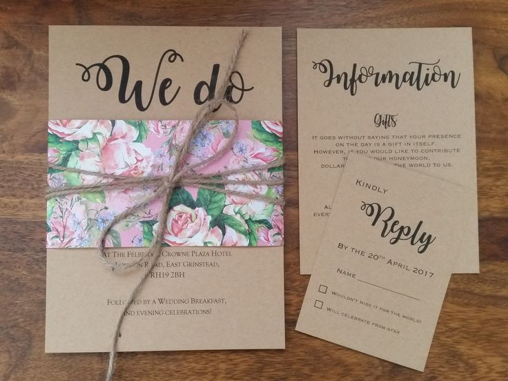 Evie Collection - A beautiful rustic wedding invitation, combining floral and vintage, a perfect match! Finished with a simply burlap string bow around the middle.