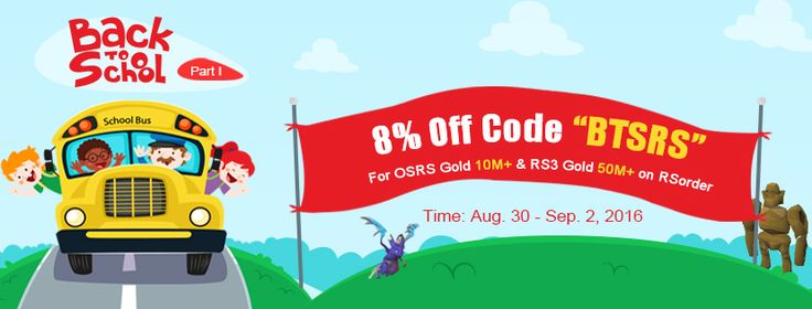 """Code 'BTSRS"""" for 8% off rs gold, osrs gold and more on rsorder.com from Aug.30 to Sept. 2."""