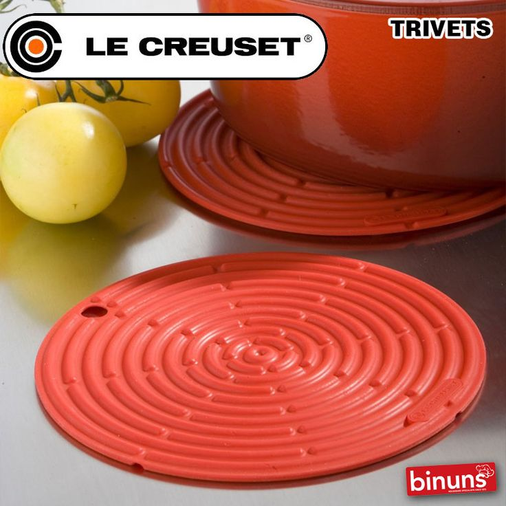 LE CREUSET TRIVETS  Inspired by the wrought iron structures of the Belle Epoque, Le Creuset's silicone trivets are crafted from 100% premium quality silicone and are non-stick, non-abrasive and ultra heat resistant. The cast iron trivets are individually cast in sand moulds, and are also ultra heat resistant. Both ranges are true benchmarks for timeless design, vibrant colours and unbeatable quality.  http://www.binuns.co.za/Brands/LeCreuset/Trivets.aspx