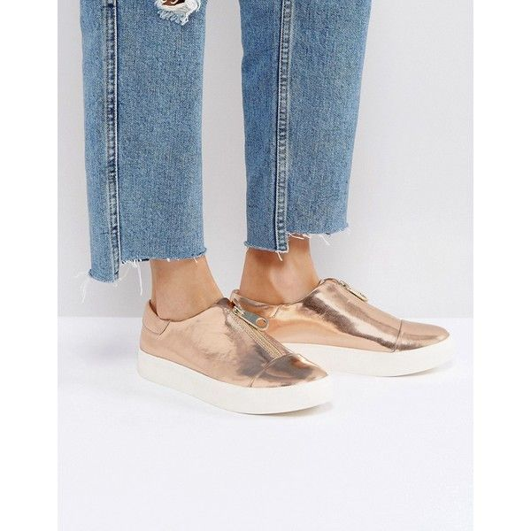 ASOS DIVERSITY Zip Plimsolls ($40) ❤ liked on Polyvore featuring shoes, sneakers, gold, gold prom shoes, canvas sneakers, prom shoes, gold shoes and zip shoes