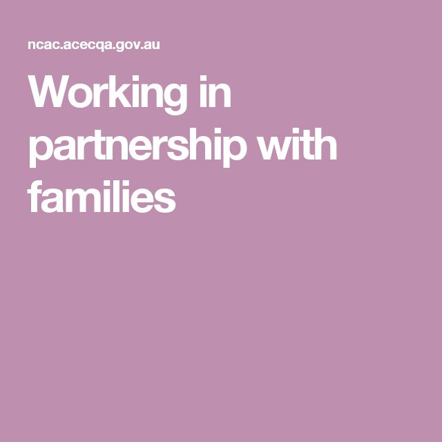 Working in partnership with families
