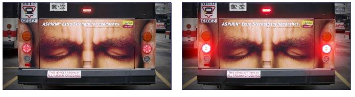 Aspirina faz anúncio na traseira de ônibus.   Os anúncios usavam as luzes do freio para demonstrar a intensidade da dor  que a pessoas da imagem estava sentindo; quanto mais forte apertava-se o freio, mais latejante era a dor.