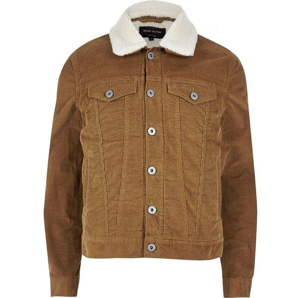 River Island Brown borg lined corduroy jacket ($37) ❤ liked on Polyvore featuring men's fashion, men's clothing, men's outerwear, men's jackets, jackets, mens corduroy jacket, mens metallic jacket, mens fleece lined jacket, mens brown jacket and tall mens jackets