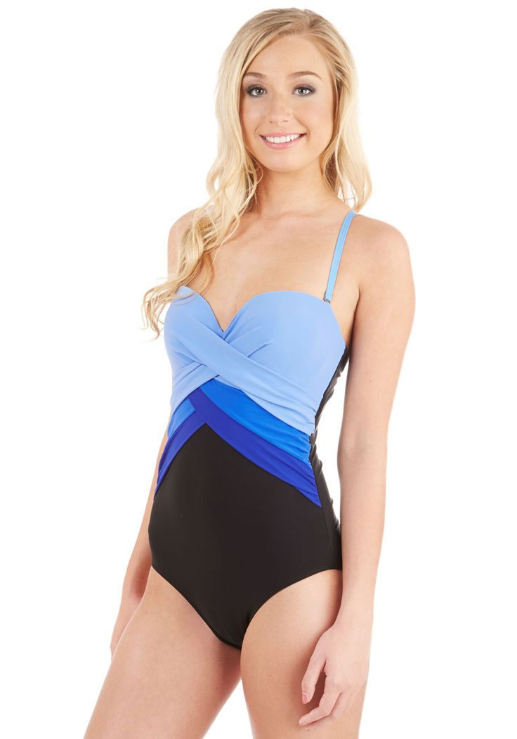 Pick and Blues One-Piece Swimsuit. Youre very selective when it comes to poolside looks - you always choose this colorblocked swimsuit! #multi #modcloth