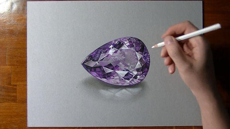 How I draw an amethyst gemstone (+playlist)