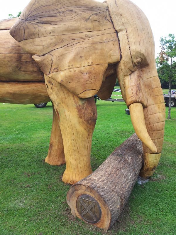 Oak Wood Public Park or Urban Landscape or Corporate sculpture / Fountain / Sratuary #artwork by #sculptor Robert Coia titled: 'African Elephant (life size Carved Wood sculptures)'. #art #artist #sculpture #RobertCoia