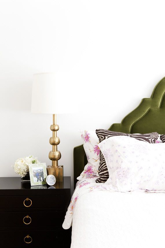 green velvet headboard + black & gold chest