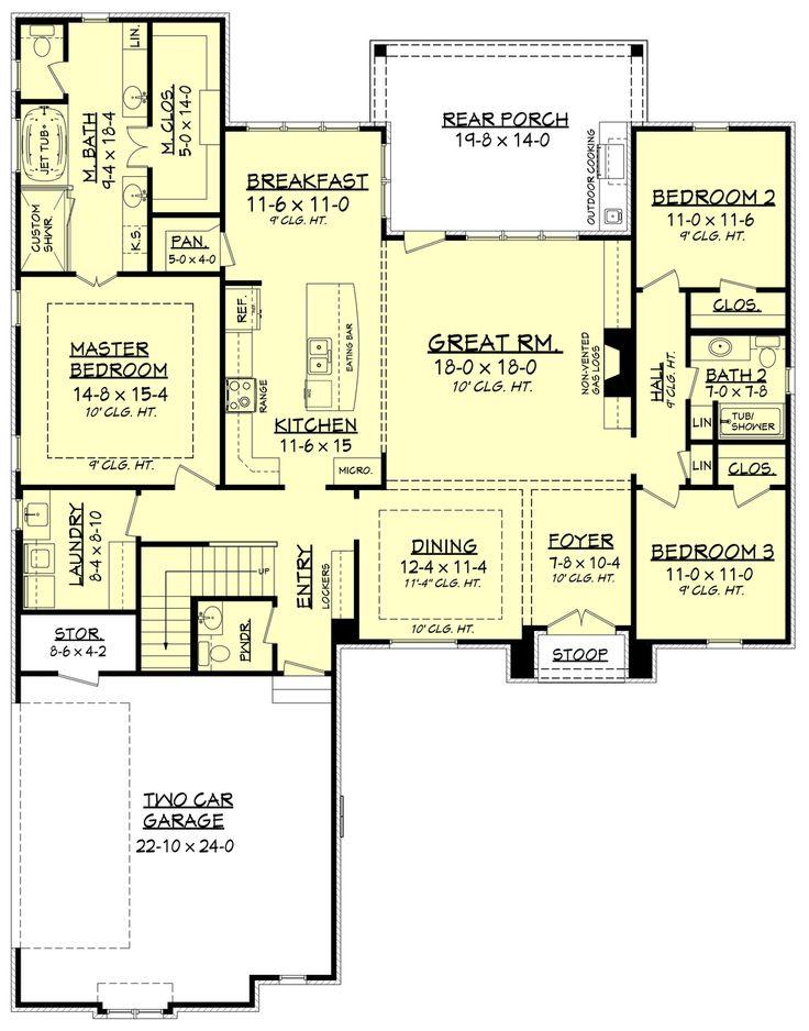 European Style House Plan - 3 Beds 2.5 Baths 2146 Sq/Ft Plan #430-136 Floor Plan - Main Floor Plan - Houseplans.com