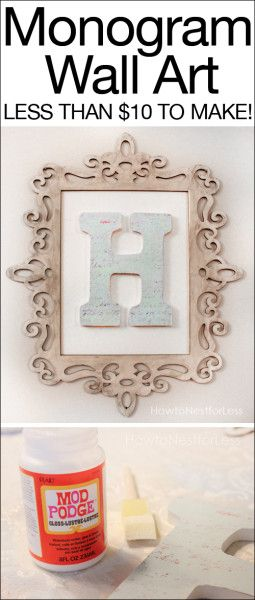 Monogram wall art. Cost less than $10 and super easy to make! Great housewarming gift.