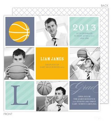 Grad Basketball Photo Invitations