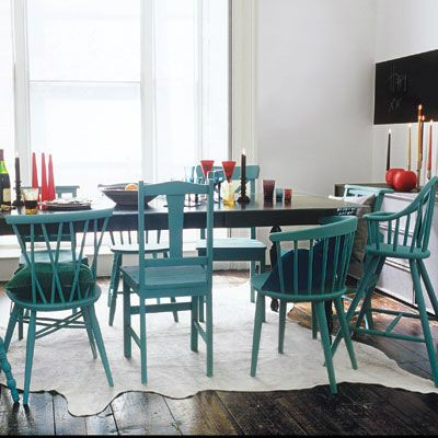 Mix And Match Furniture Dining Room Ideas - mixed shapes, same color