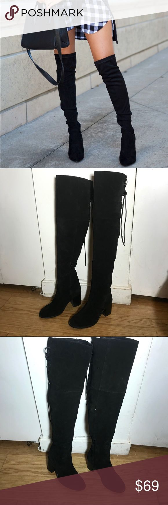 """Urban Outfitters Over-the-Knee Boots Urban Outfitters Over-the-Knee Boots -Size 38 (US 7.5) -By Deena & Ozzy. -Inside zipper. -Suede. -Heel height: 3"""" -Shaft height: 25"""" -Calf Circumference: 14.5"""" -Lace UO detail on back of thighs -Made in Spain. -Excellent condition, some minimal scuffs on suede.  NO Trades. Please make all offers through offer button. Urban Outfitters Shoes Over the Knee Boots"""