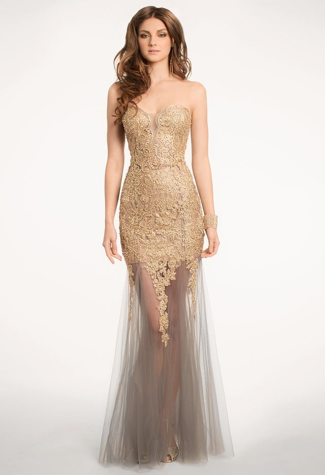 Lace mesh dress with metallic appliques from camille la for Wedding dresses in usa