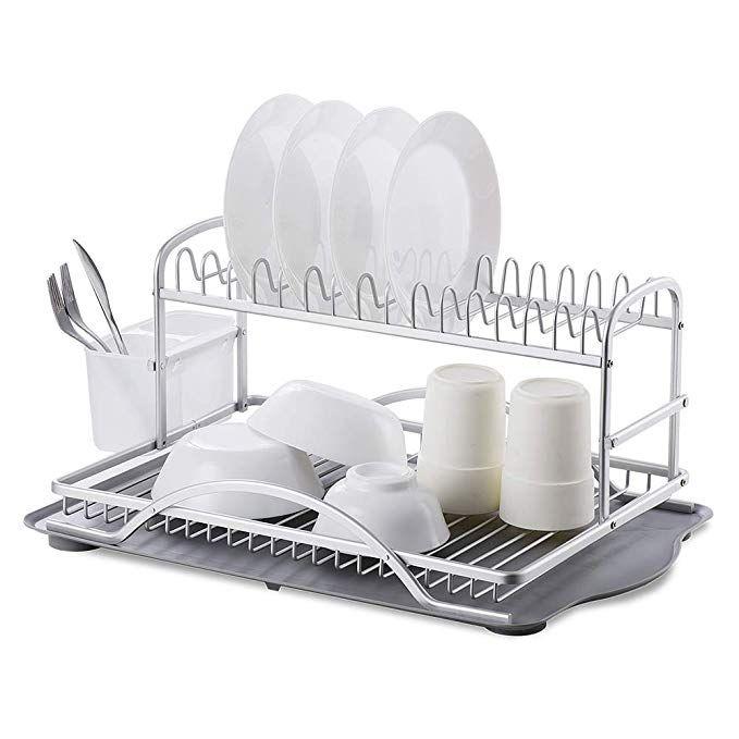 Yenorex Dish Drying Rack Aluminum 2 Tier Kitchen Dish Rack Dish