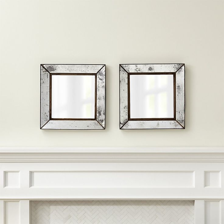Set of 2 Dubois Small Square Wall Mirrors | Crate and Barrel