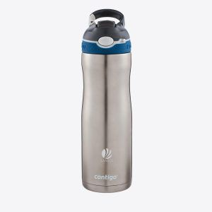 PromoBrand-Engraved Contigo® Ashland Chill Sports Bottle. Very strong stainless steel water bottle with vacuum isolated wall and AUTOSPOUT® technology (push the button and the spout lifts up) Provided with locking mechanism and carabiner. This drinking bottle keeps cold drinks cold for up to 20 hours. Dishwasher safe. Includes instructions. Capacity 590 ml. Contigo® The best in quality, design and technology.