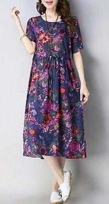Details about Women Fashion Maxi Dress Boho Bohemian Short Sleeve Casual Tunic Chiffon Dress