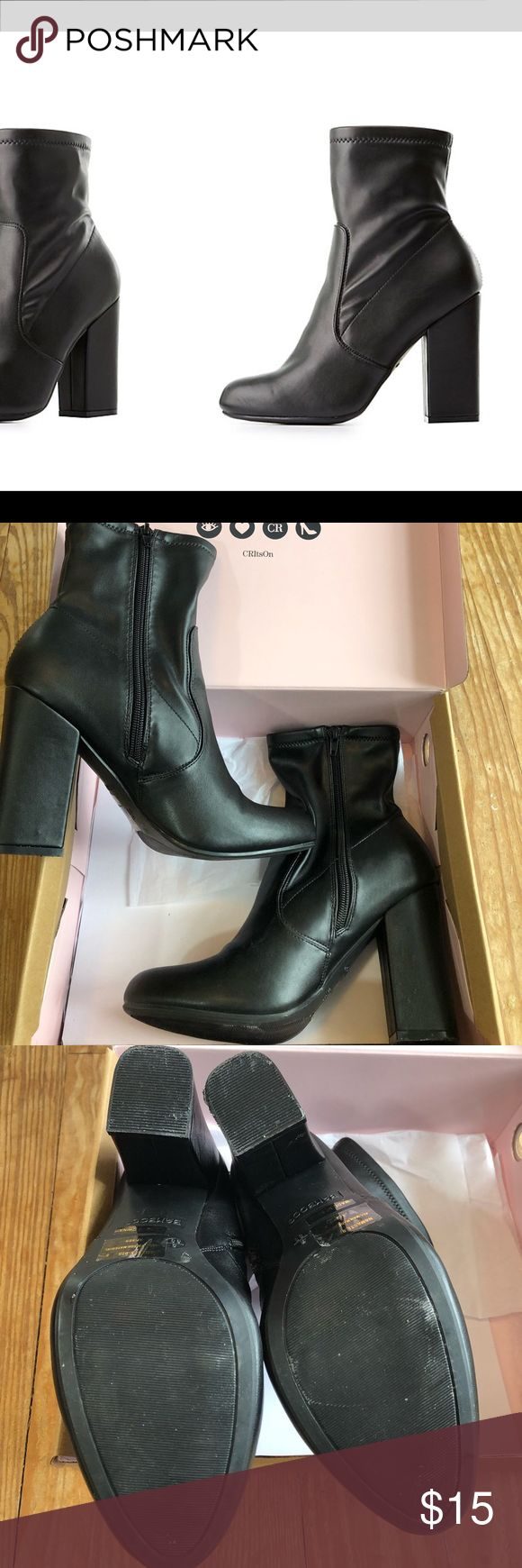 Faux Leather Sock Boots Super Cute Faux Leather Black Sock Boots.  Sold out in every size but 10!!  These look amazing with jeans, leggings, or a dress.   Worn once to the mall for about 3 hours. Just a touch too big on me  Charlotte Russe Shoes Ankle Boots & Booties
