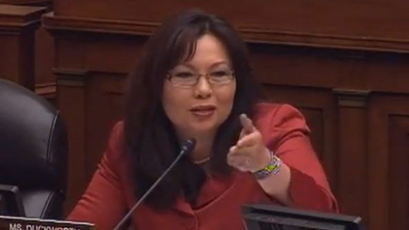 Rep. Tammy Duckworth (D-IL), an Iraq war veteran. She lost both her legs and partial use of her right arm in Iraq in 2004 when the Black Hawk helicopter she was flying got hit by a rocket-propelled grenade. In November 2012, she became the first disabled woman to be elected to the House of Representatives.