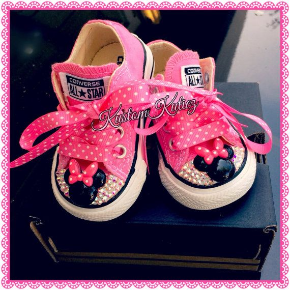 Minnie Mouse converse, Swarovski Crystal Embellished Converse , birthday shoes, Minnie Mouse birthday outfit on Etsy, $55.00