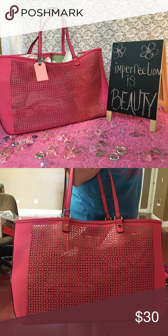 Kate Landry purse Pink we've with gold hardware Kate Landry purse large type tote😃NWT! Cute,cute,cute Kate Landry Bags Totes