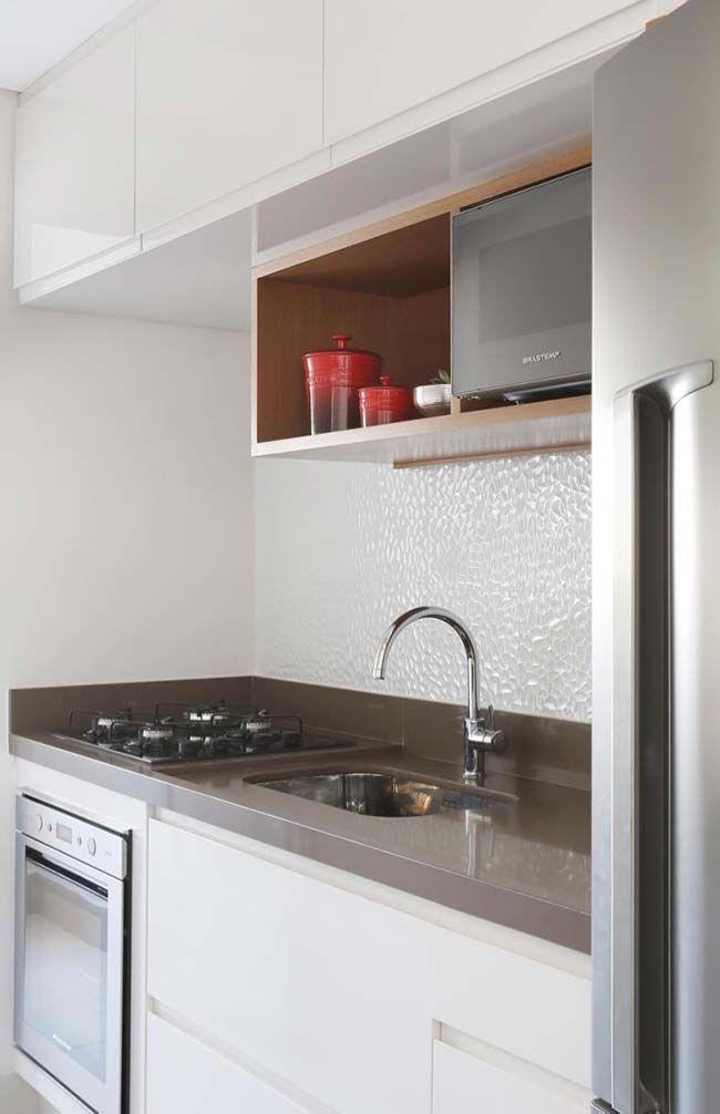 Cozinha Clean E Moderna Com Granito Branco Absoluto Marrom