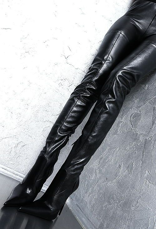 Details zu 1969 ITALY LEDER HOHE OVERKNEE LANG STIEFE G67 Stretch Boots LEATHER High Heels
