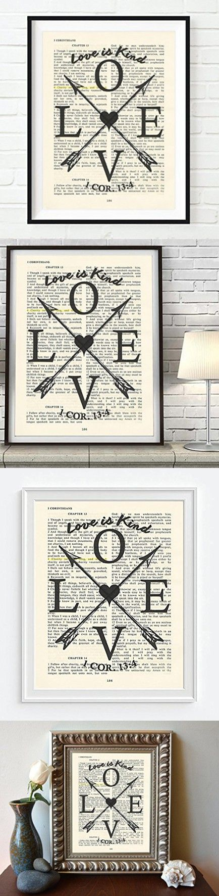 Vintage Bible verse scripture - Upcycled page - LOVE is Kind - 1 Corinthians 13: 4 Christian ART PRINT, UNFRAMED, wedding anniversary dictionary wall & home decor poster, Inspirational gift