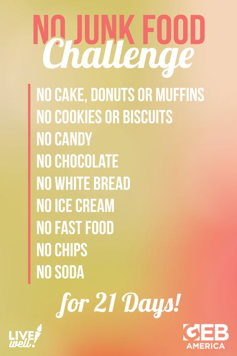 "We're challenging you to take on the ""No Junk Food Challenge.""   Please REPIN if you're up for it! #FitnessFriday #LiveWell"