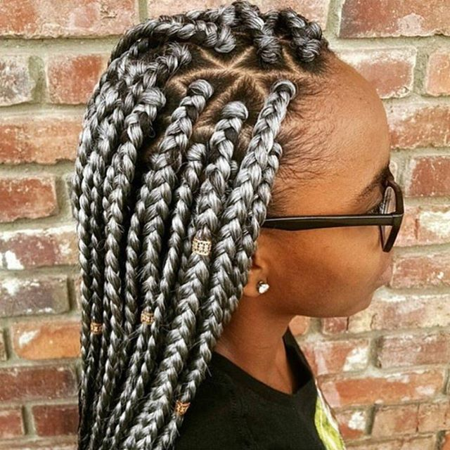 Silver Braids Box Braids Styling Braided Hairstyles