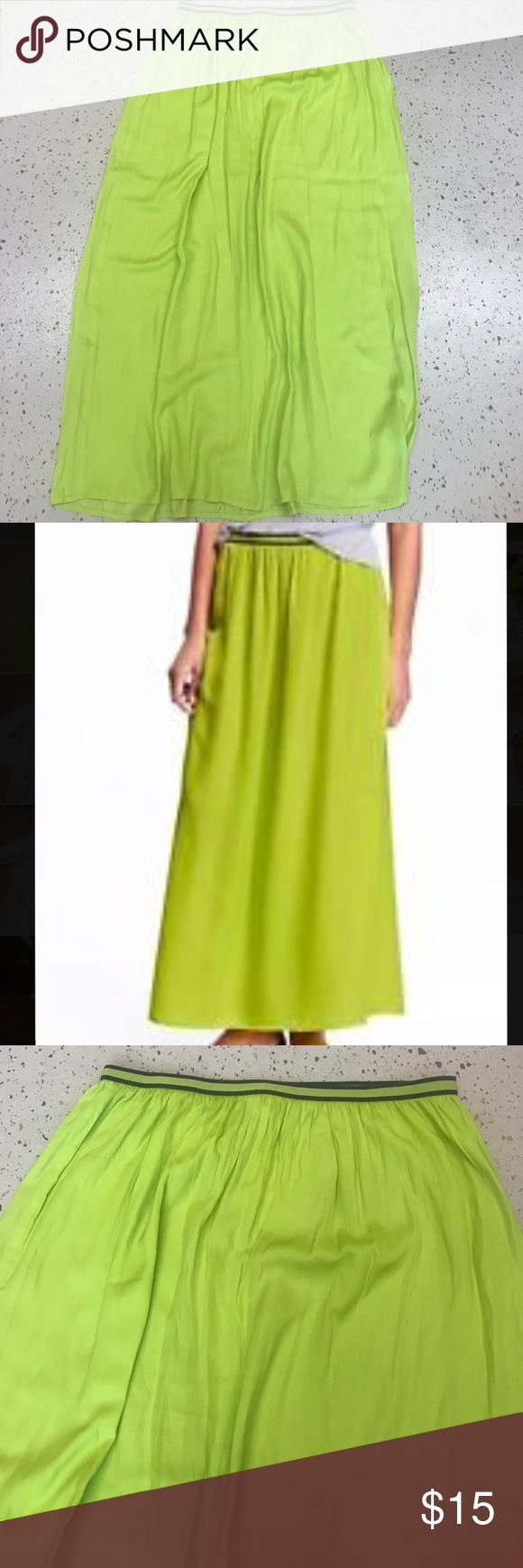 Old Navy Maxi Skirt Medium Neon Green Worn once! Like new condition. Sheer material so I wore a slip underneath. Perfect lightweight and cool. Waist is stretchy.  Looks great for summer or fall! Old Navy Skirts Maxi