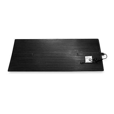 This large heated floor mat is constructed of heavy-duty recycled rubber, and it is waterproof. It uses one-tenth the energy of a space heater while being ten times more effective.
