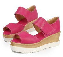 Estate d'epoca velcro piattaforma cuneo scarpe tacco alto donne's patform open toe sandali donna pompe casuali grande formato us4-  (China (Mainland))