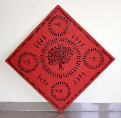 Warli painting on Foam board to be fixed on wall using stud screws.