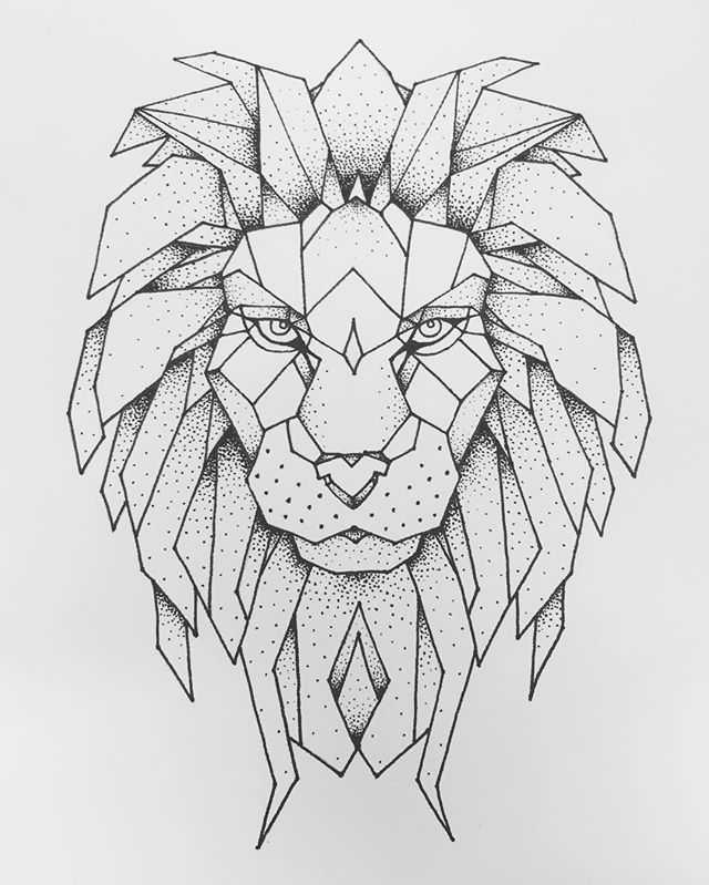 Line Drawing Animal Tattoos : Best ideas about geometric lion on pinterest