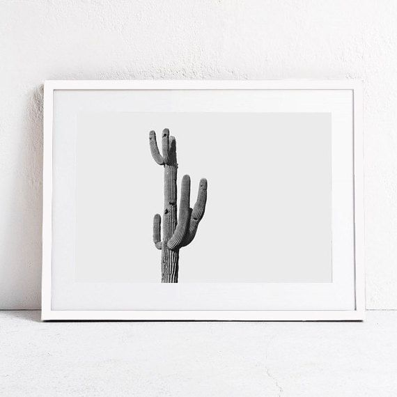 cactus print-minimalist print-black and white wall by ModeaPrints