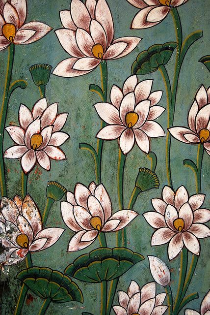 India, patterns, colors by Niels_J, via Flickr love the simplified lotus print on green backdrop