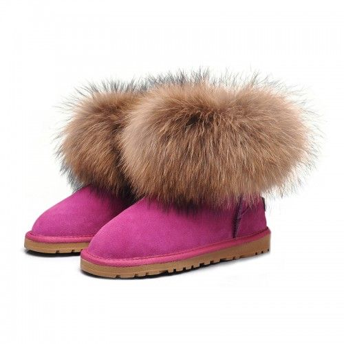 predaj Dámske UGG líščou kožušinou ovčej kožušina/Fox Mini obuv čižmy 5854 Fuchsia