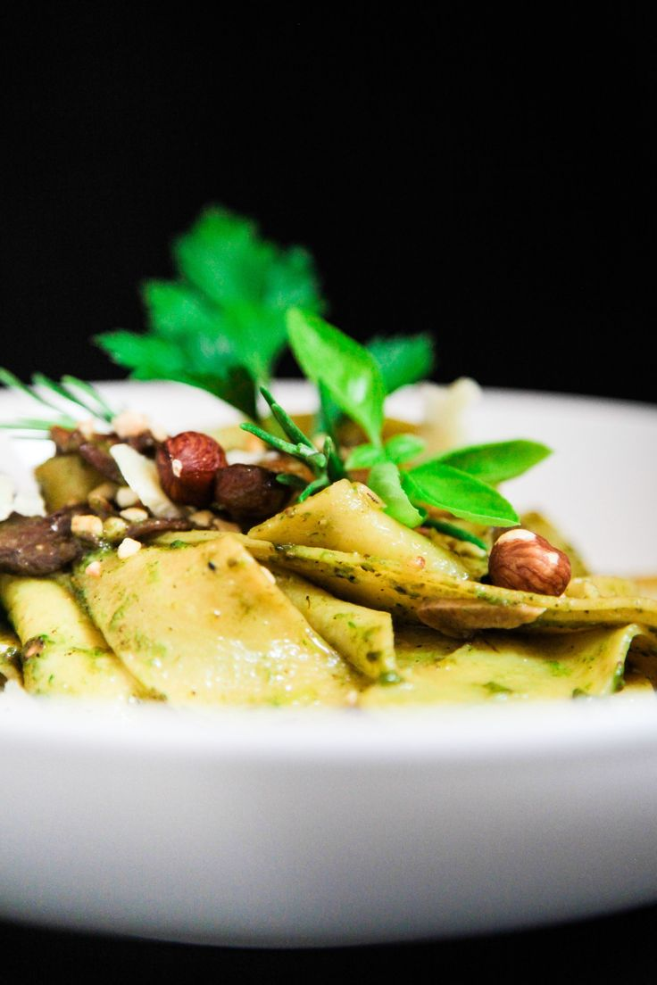 Chanterelle, Porcini, Hazelnut Green Herb Pesto Pappardelle | Berries and Spice
