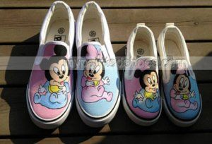 Christmas Gifts Family Mickey Shoes 2 Pair Slip-on Painted Canva