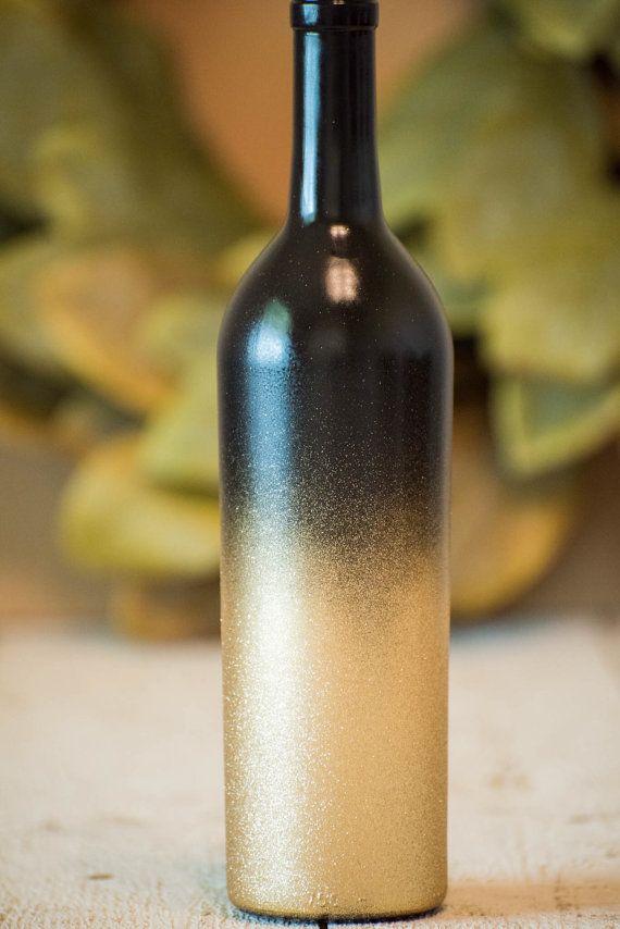 Gold Wine Bottle Wedding Centerpiece Black Glitter Decor
