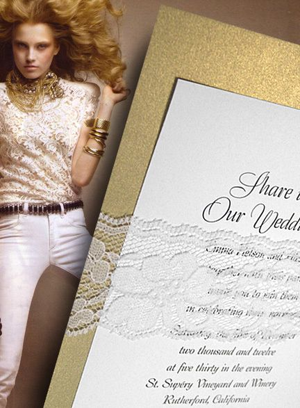 metallic gold invitations with lace