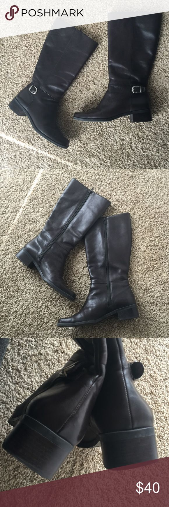 Naturalizer Leather Riding Boots Dark brown boots with zipper closure. Some visible wear on toes in 4th picture. Naturalizer Shoes
