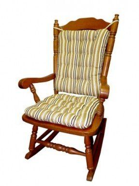 Rocking Chair Cushion Set - Colton Federal Stripe Black & Gold -Standard Size - Rocker Seat Pad and Back Pad - Tufted, Reversible, Latex Foam Fill