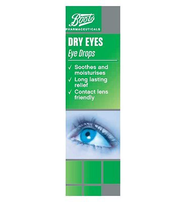 Boots Pharmaceuticals Boots Dry Eyes Eye Drops 10ml 10149522 12 Advantage card points. Boots Dry Eyes Eye Drops. Soothes and moisturises, long lasting relief, contact lens friendly. FREE Delivery on orders over 45 GBP. (Barcode EAN=5045097770547) http://www.MightGet.com/april-2017-1/boots-pharmaceuticals-boots-dry-eyes-eye-drops-10ml-10149522.asp