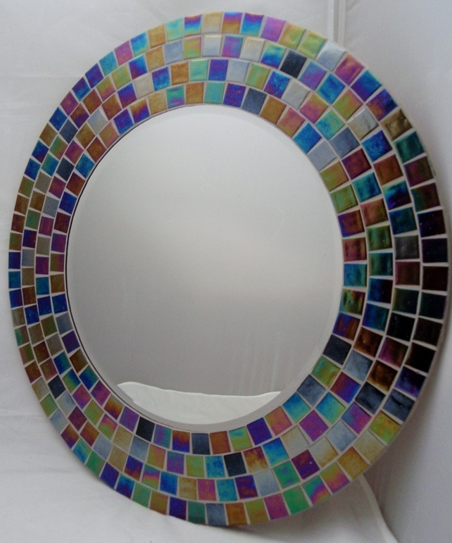 'Over the Rainbow' Large Round Mosaic Mirror  £55.00