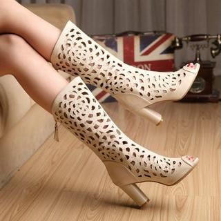 Laser Cut Peep Toe Mid-Calf Boots from YesStyle US/ Global