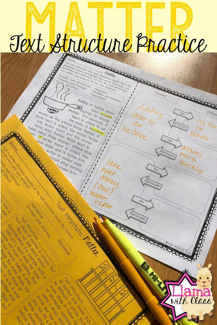 Matter Text Structure Practice | Upper Elementary Science Ideas ...