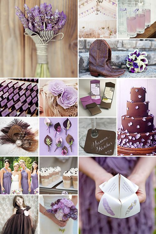 Light Brown and Purple Weddings - like this lighter shade of purple on the bridesmaid dresses